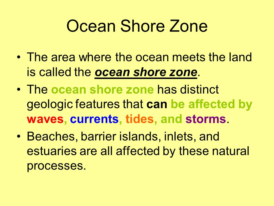 Ocean Shore Zone The area where the ocean meets the land is called the ocean shore zone.