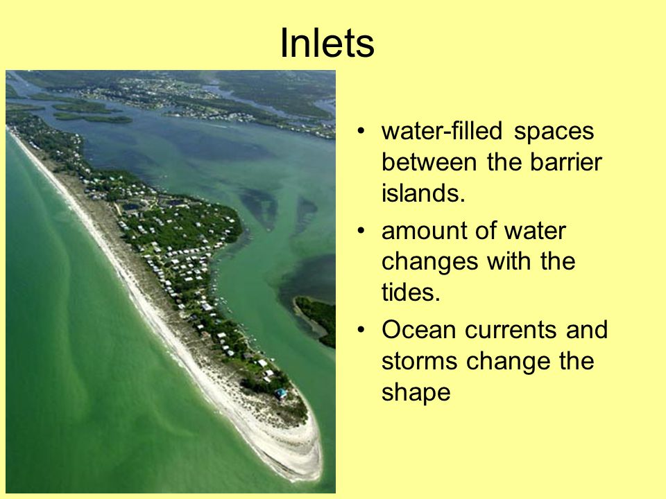 Inlets water-filled spaces between the barrier islands.