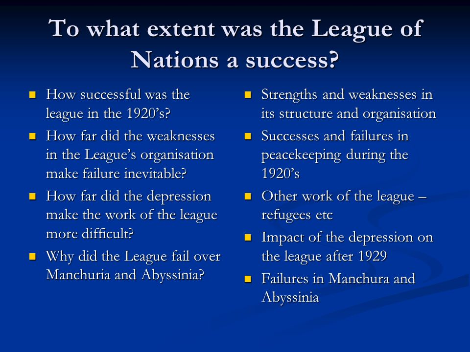 League of Nations Successes