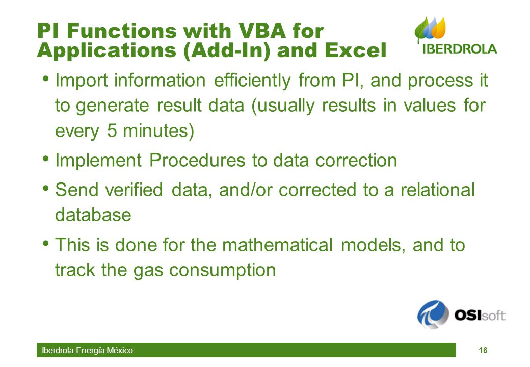PI Functions with VBA for Applications (Add-In) and Excel