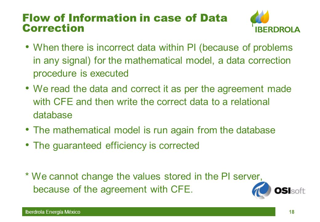 Flow of Information in case of Data Correction