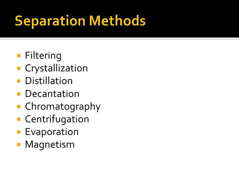 Separation Methods Filtering Crystallization Distillation Decantation