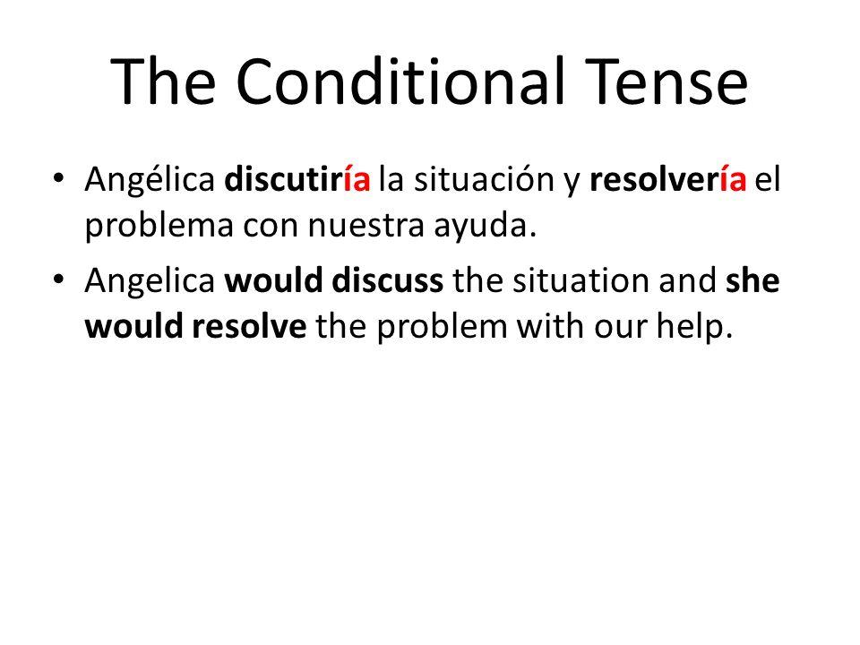 The Conditional Tense Angélica discutiría la situación y resolvería el problema con nuestra ayuda.