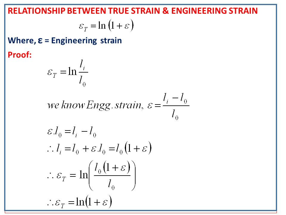 relationship between true stress and strain