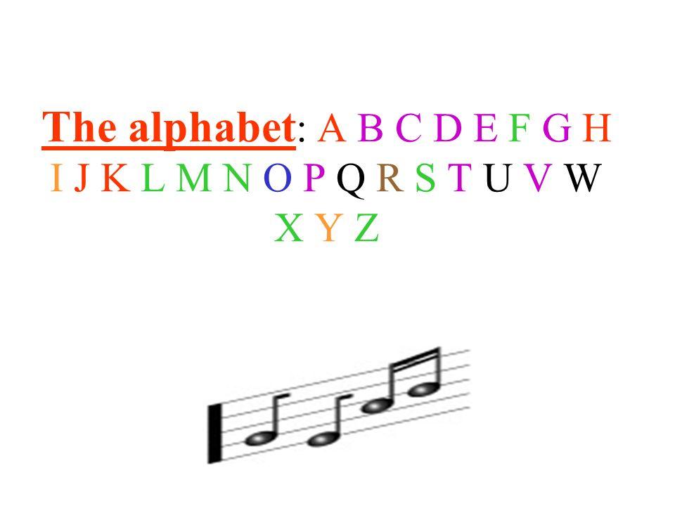 The alphabet: A B C D E F G H I J K L M N O P Q R S T U V W X Y Z