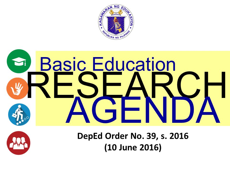 RESEARCH AGENDA Basic Education DepEd Order No 39 S 2016
