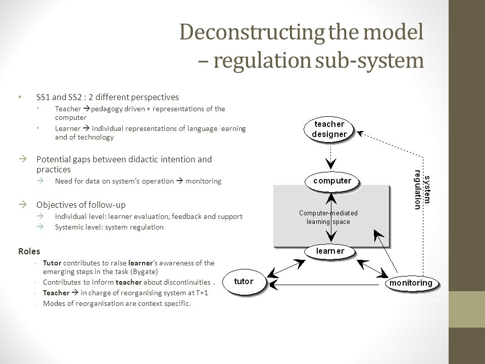 Deconstructing the model – regulation sub-system