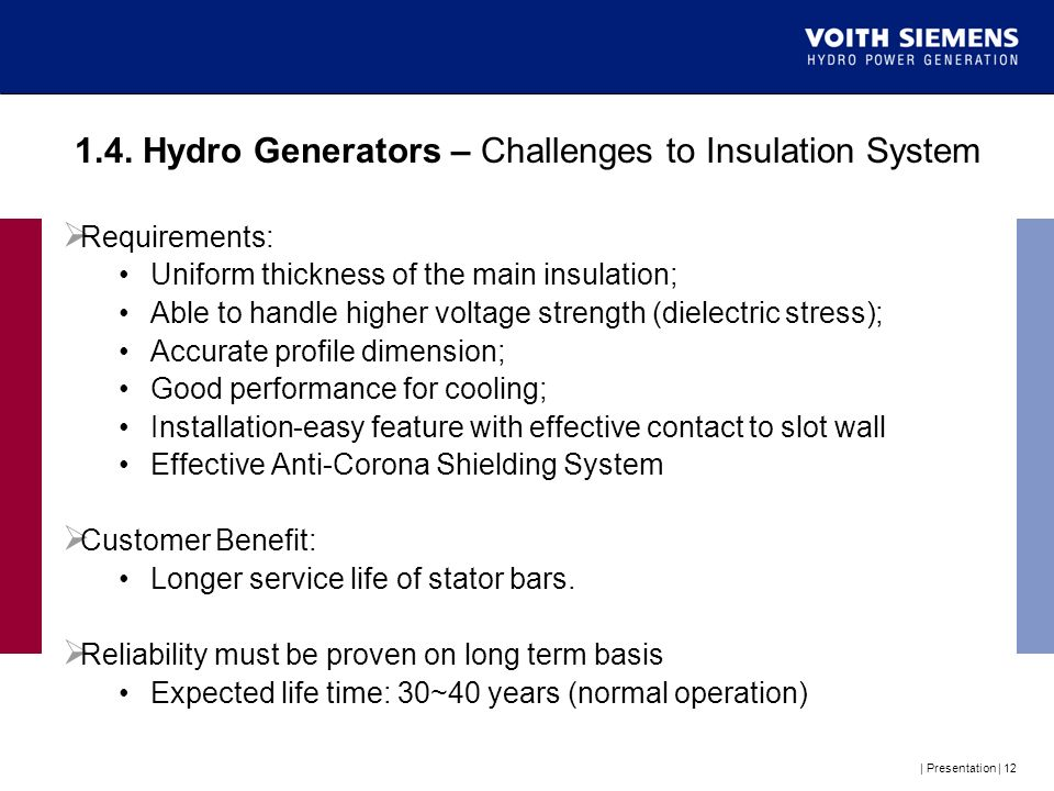 1.4. Hydro Generators – Challenges to Insulation System