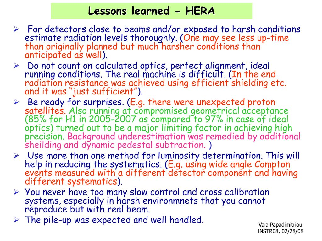 Lessons learned - HERA