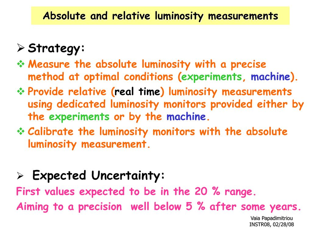 Absolute and relative luminosity measurements