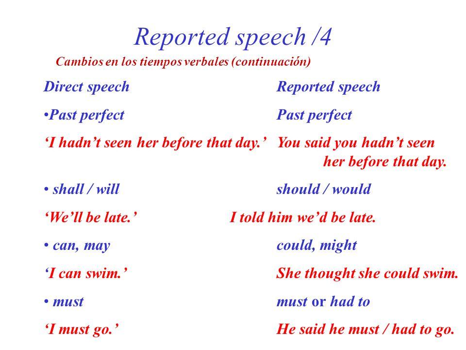 Reported speech /4 Direct speech Reported speech