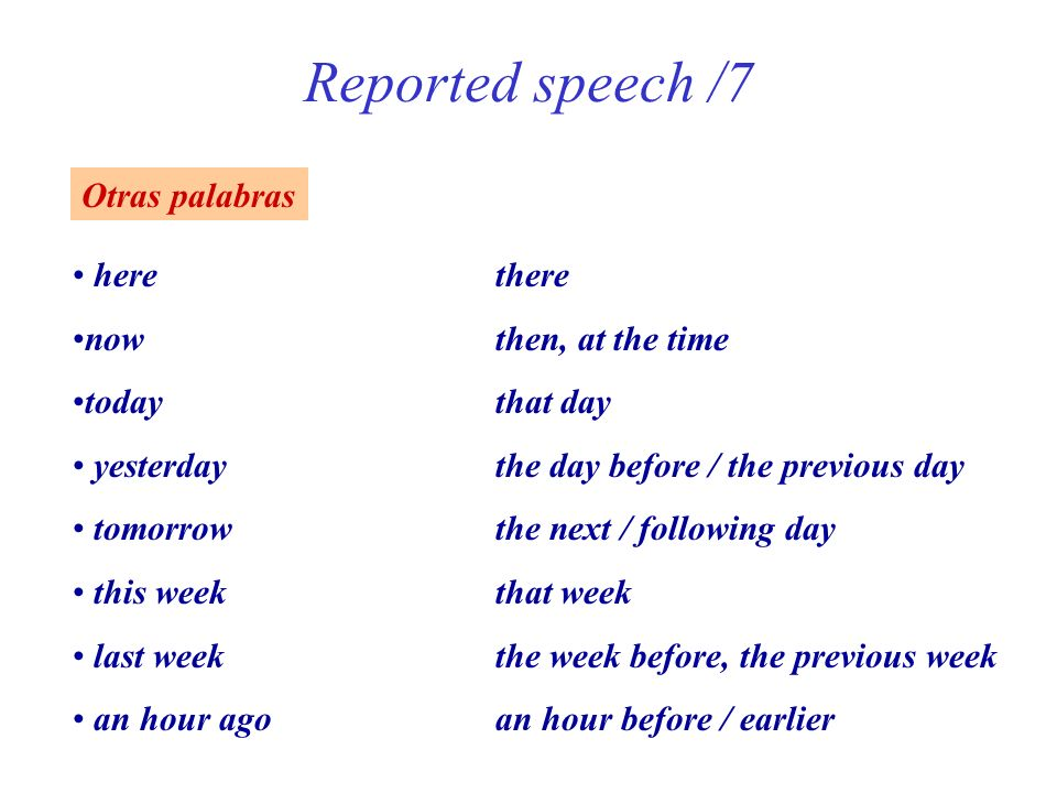 Reported speech /7 Otras palabras here there now then, at the time