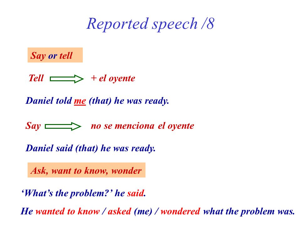 Reported speech /8 Say or tell Tell + el oyente