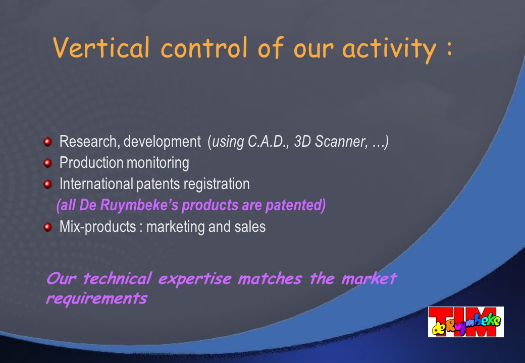 Vertical control of our activity :