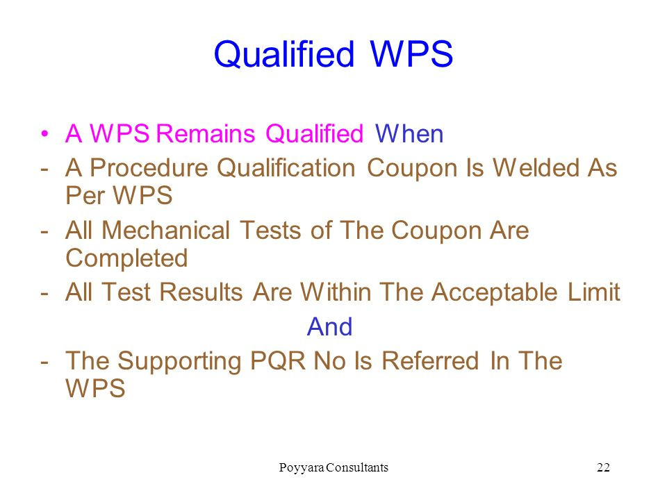 Qualified WPS A WPS Remains Qualified When