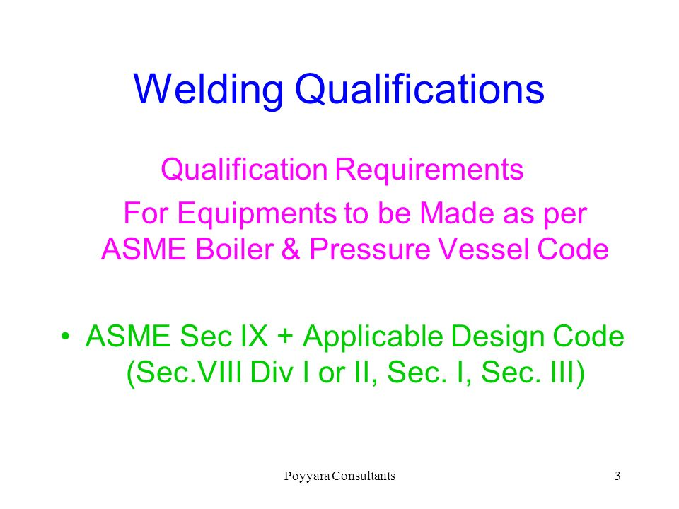 Welding Qualifications