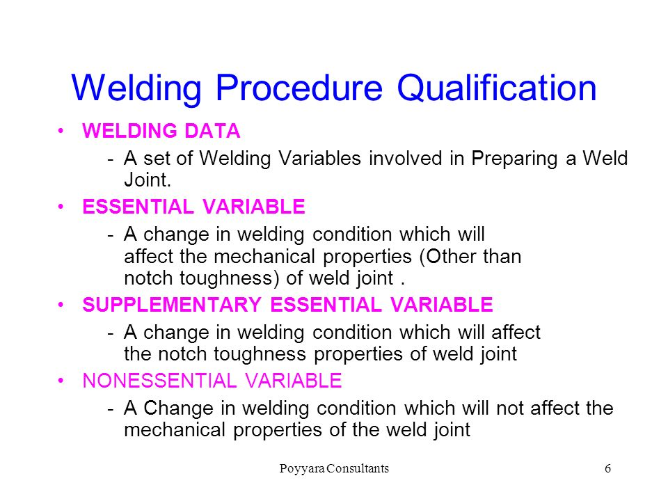 Welding Procedure Qualification
