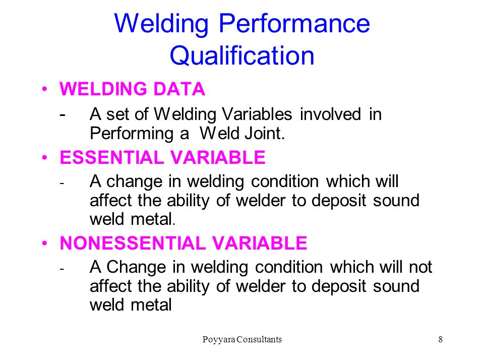 Welding Performance Qualification
