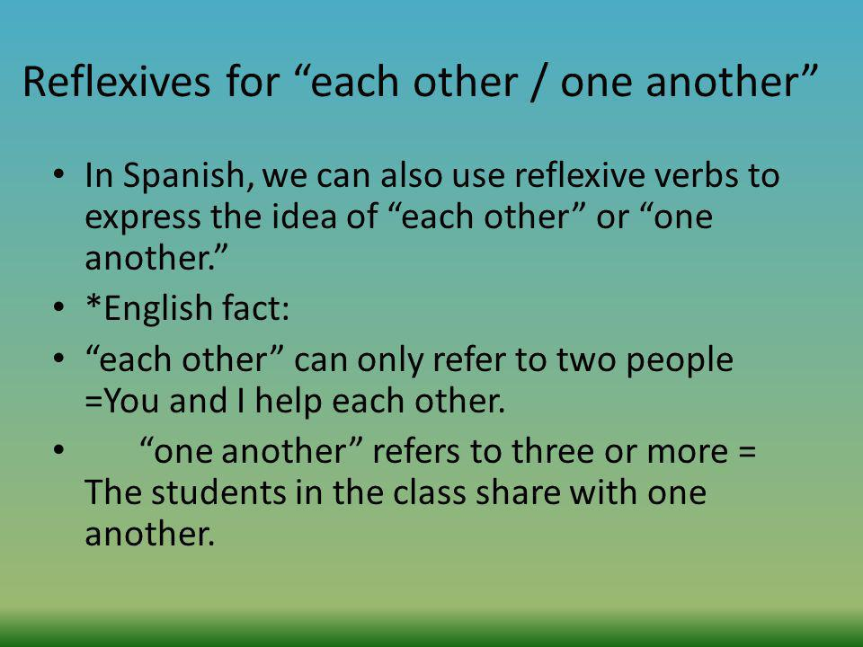 Reflexives for each other / one another