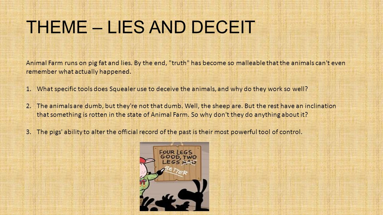animal farm lies and deceit George orwell apocryphal  in a time of universal deceit — telling the truth is a revolutionary act  1984 and animal farm the saying that interests me is.