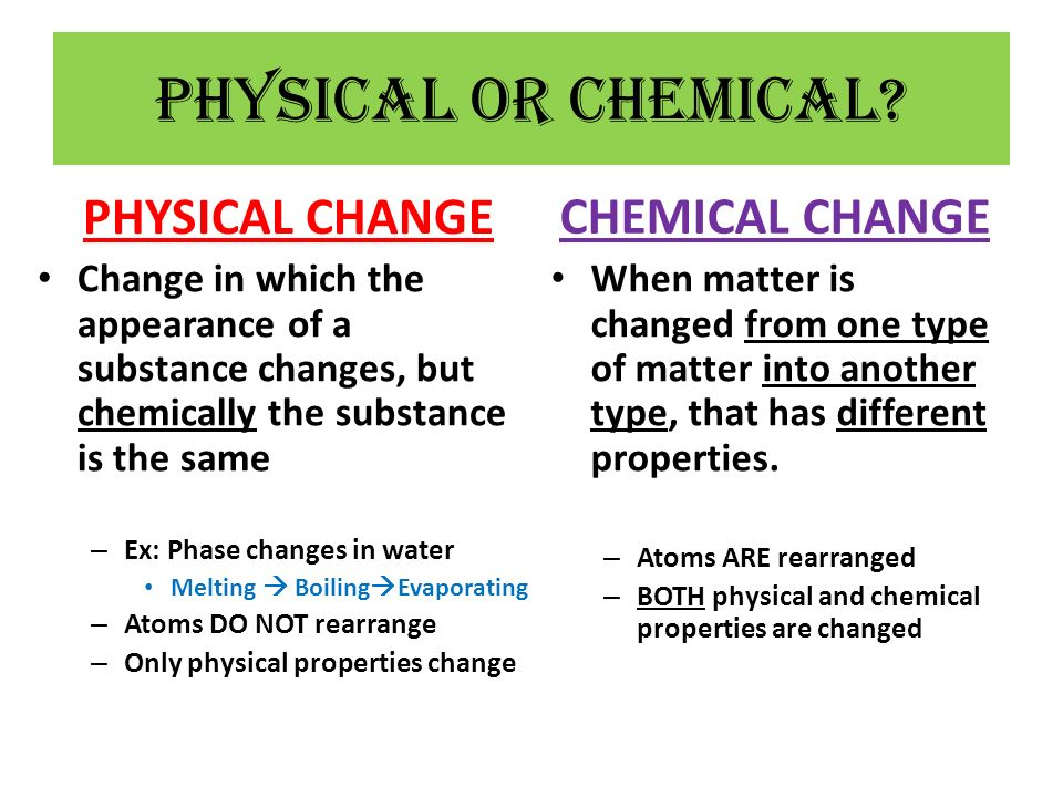 Physical or Chemical PHYSICAL CHANGE CHEMICAL CHANGE