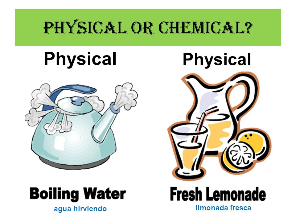 Physical or Chemical Physical Physical agua hirviendo limonada fresca