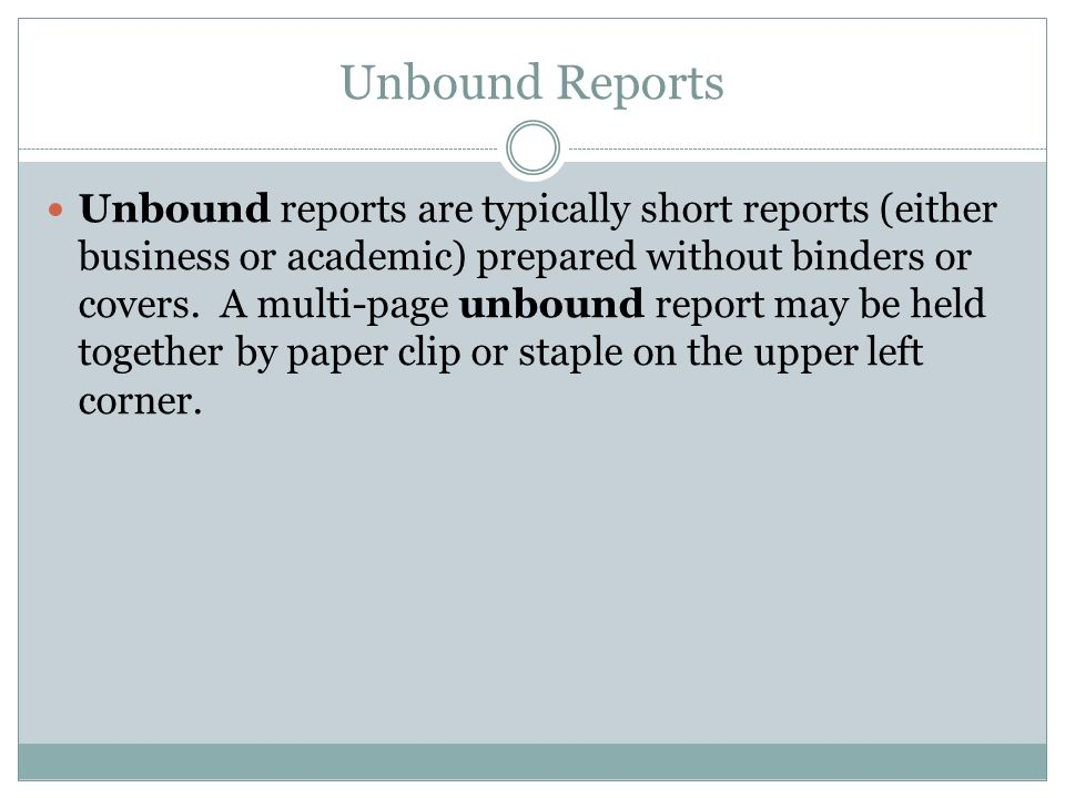 Unbound Reports
