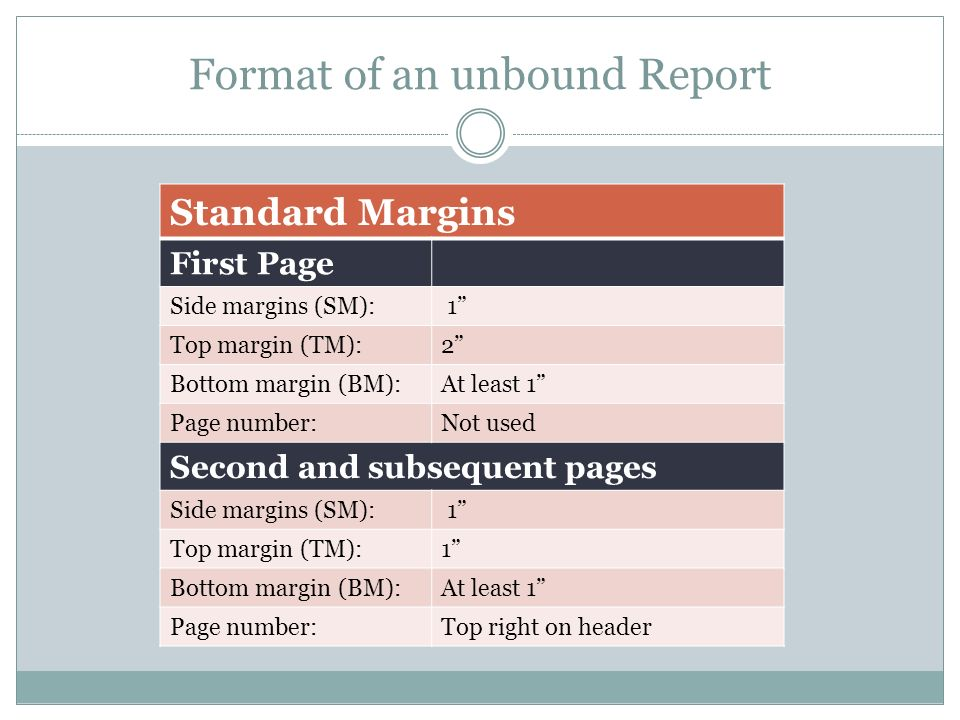 Format of an unbound Report