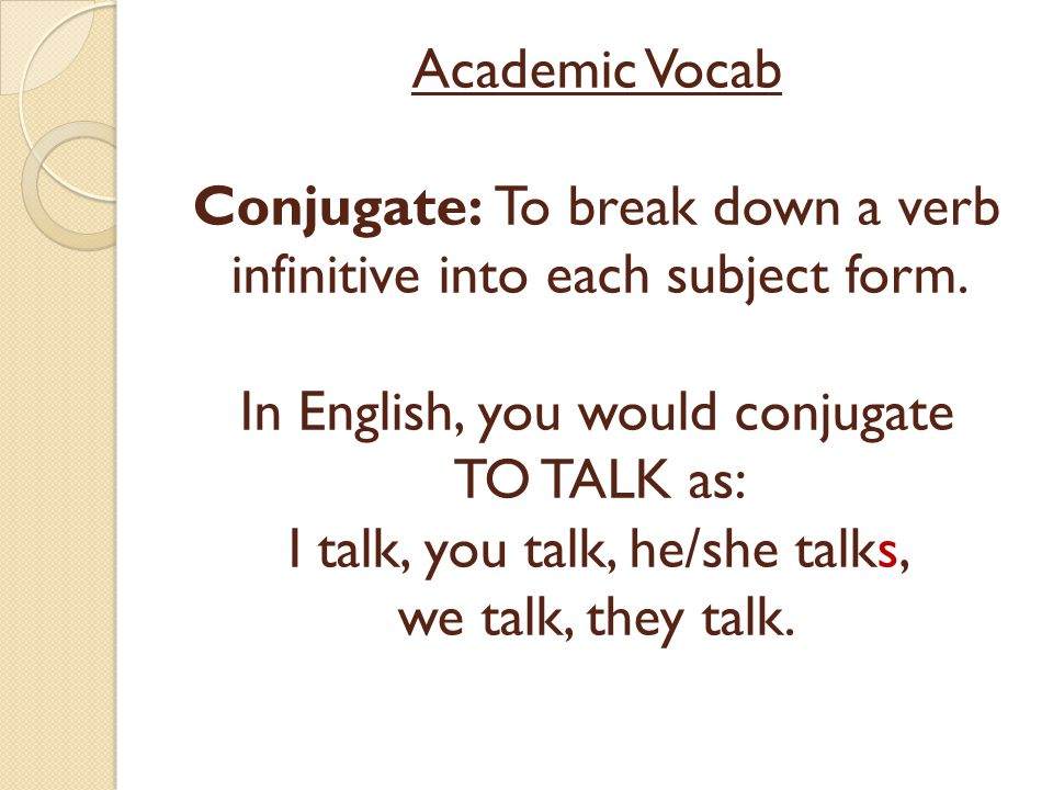 Academic Vocab Conjugate: To break down a verb infinitive into each subject form.