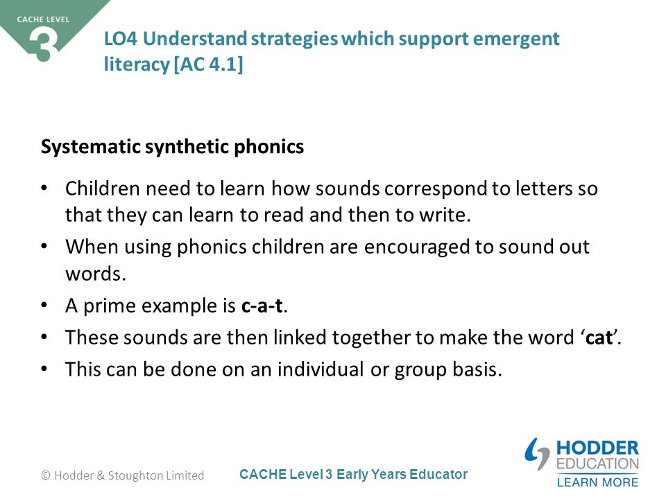 synthetic phonics Although it may seem very modern, the teaching of synthetic phonics is not a contemporary pedagogy the committee found that.