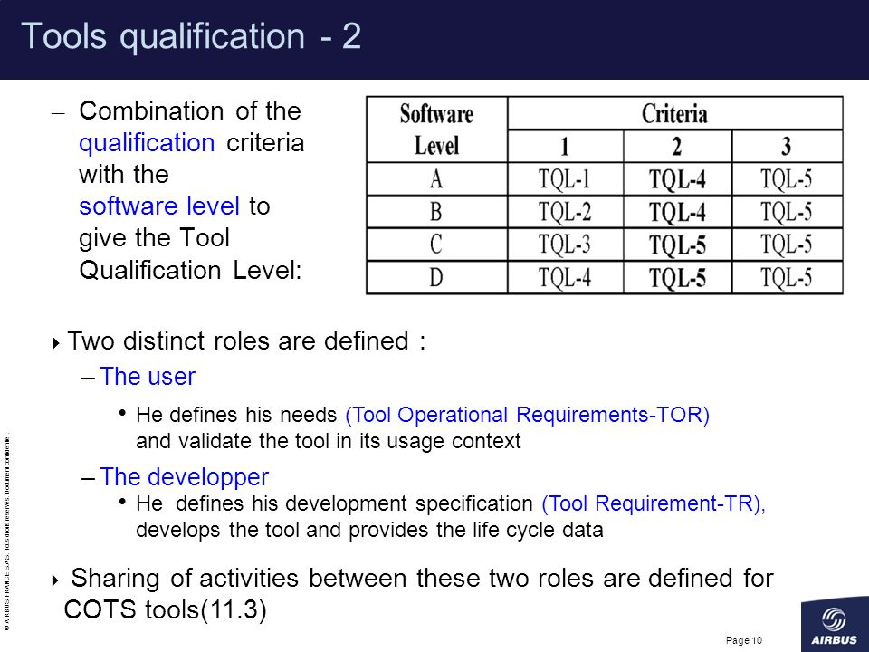 Tools qualification - 2 Combination of the qualification criteria with the software level to give the Tool Qualification Level: