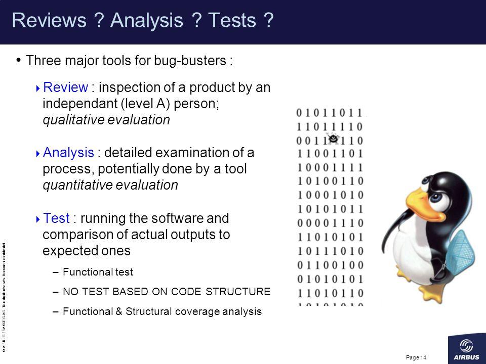 Reviews Analysis Tests