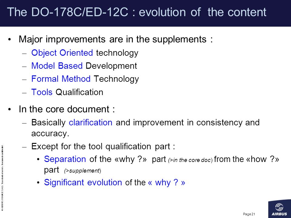 The DO-178C/ED-12C : evolution of the content