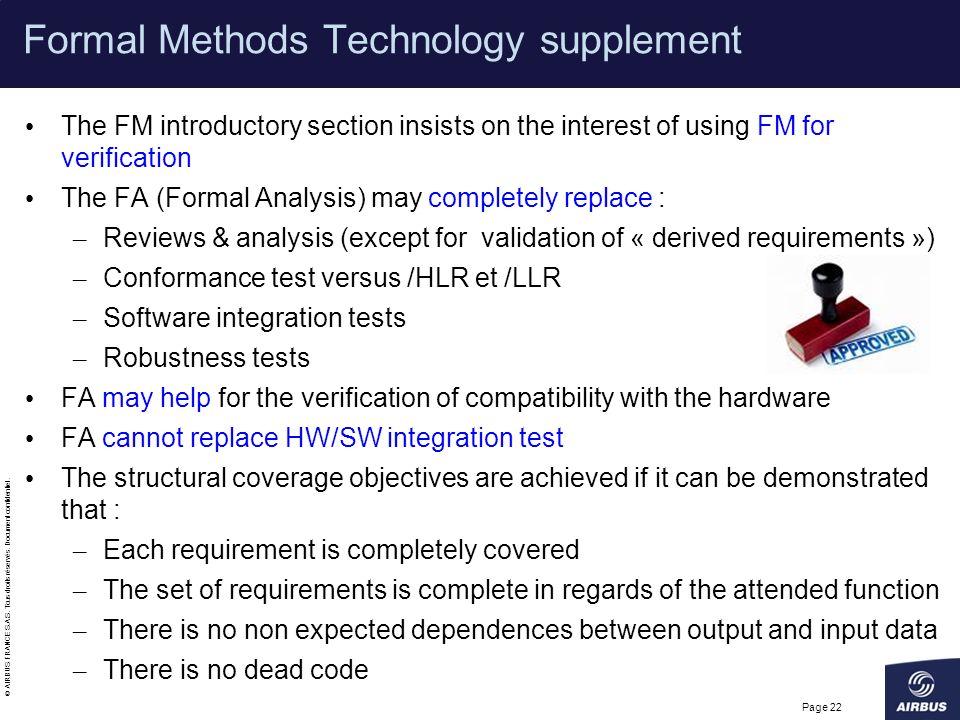 Formal Methods Technology supplement