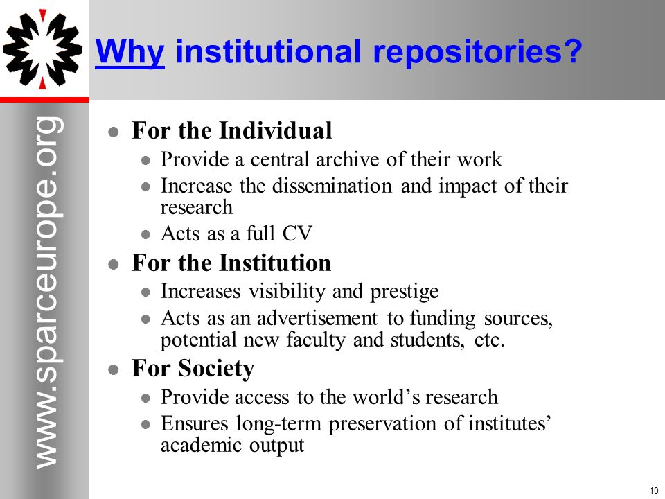 Why institutional repositories