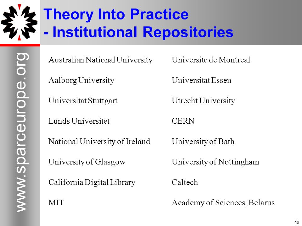 Theory Into Practice - Institutional Repositories