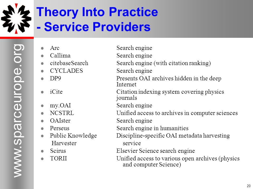 Theory Into Practice - Service Providers