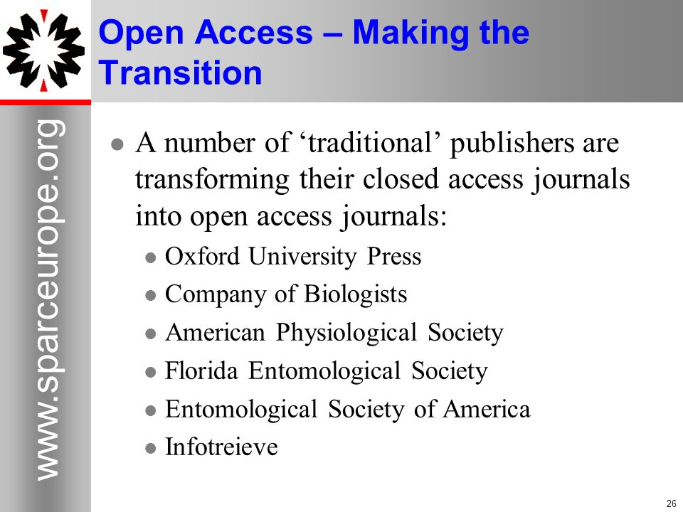 Open Access – Making the Transition