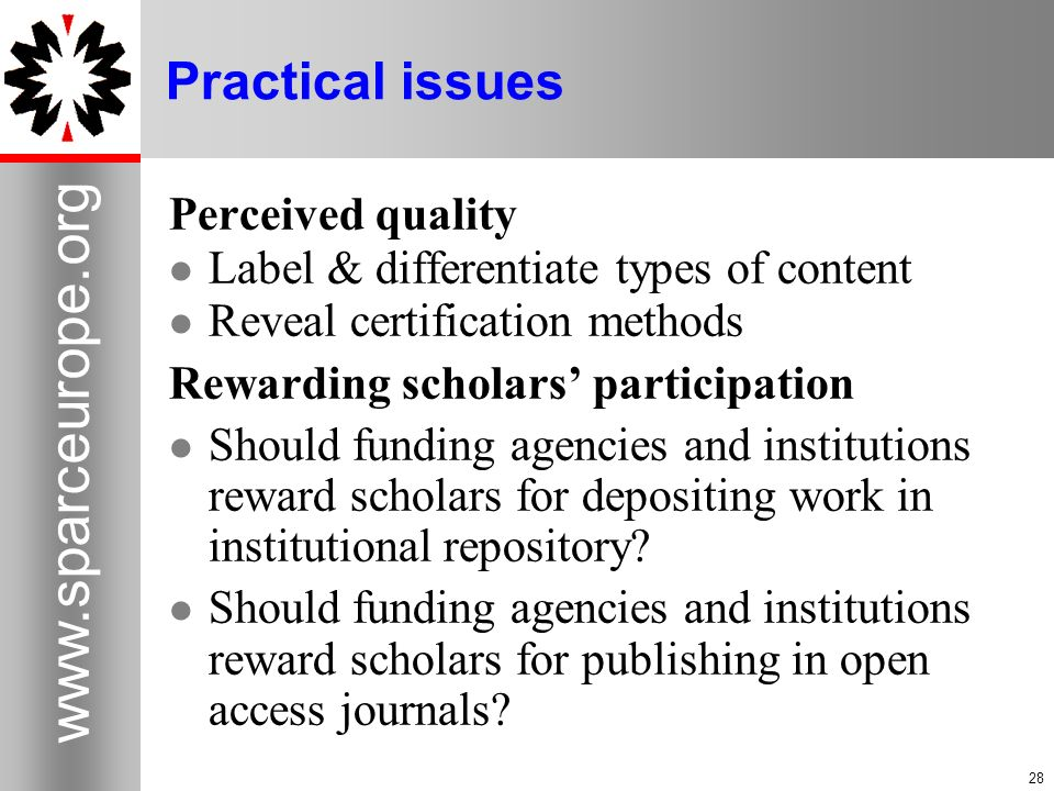 Practical issues Perceived quality