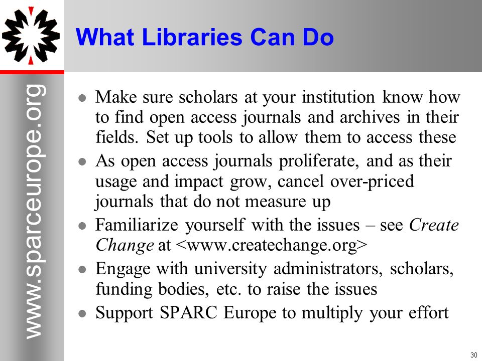 What Libraries Can Do