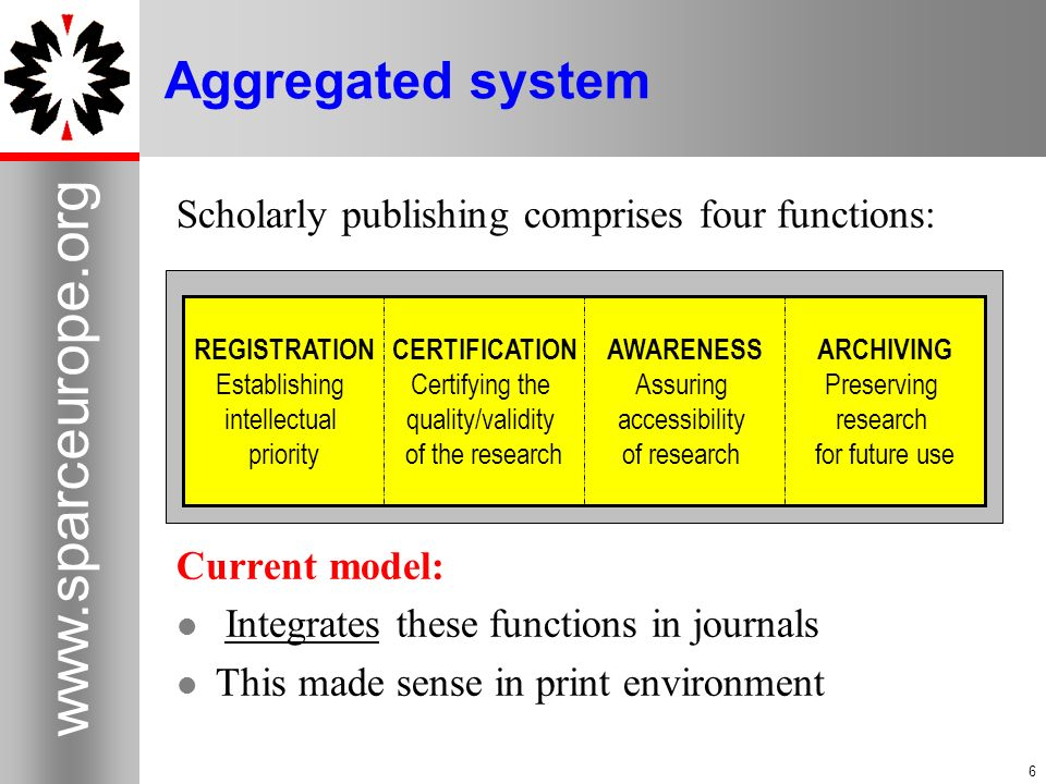 Aggregated system Scholarly publishing comprises four functions: