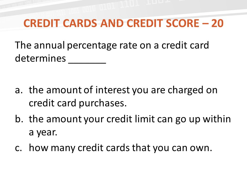 Credit cards and credit score – 20