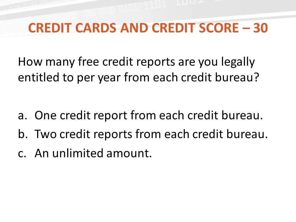 Credit cards and credit score – 30
