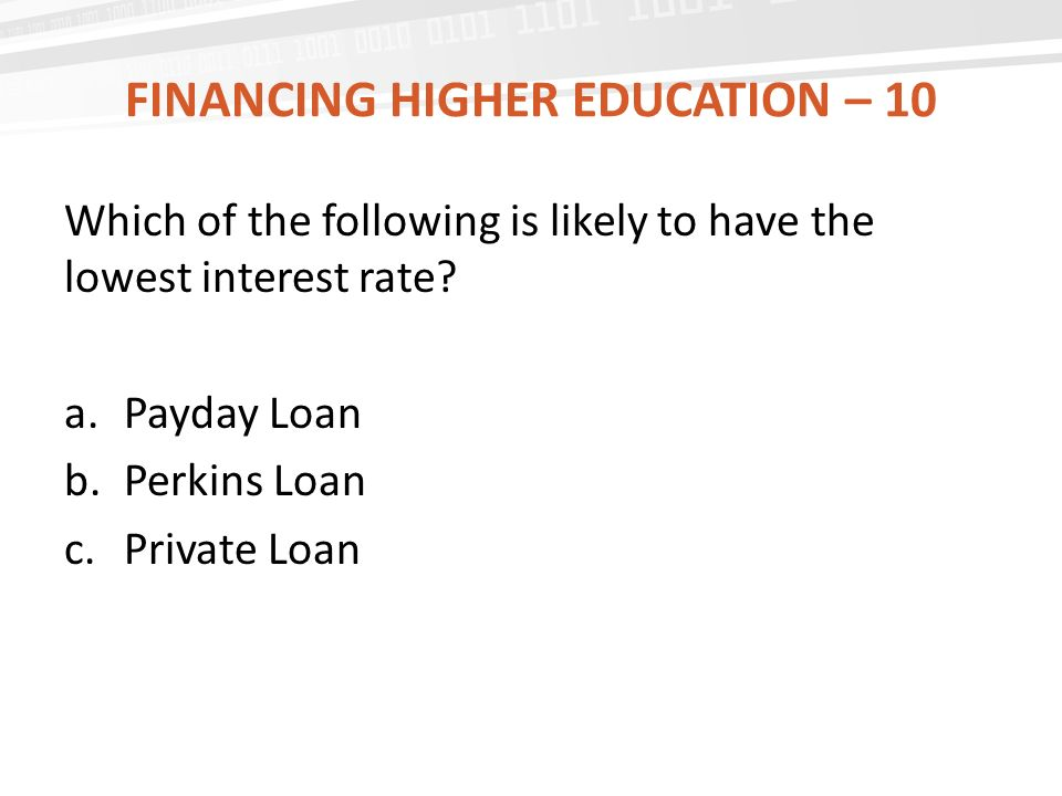 Financing Higher Education – 10