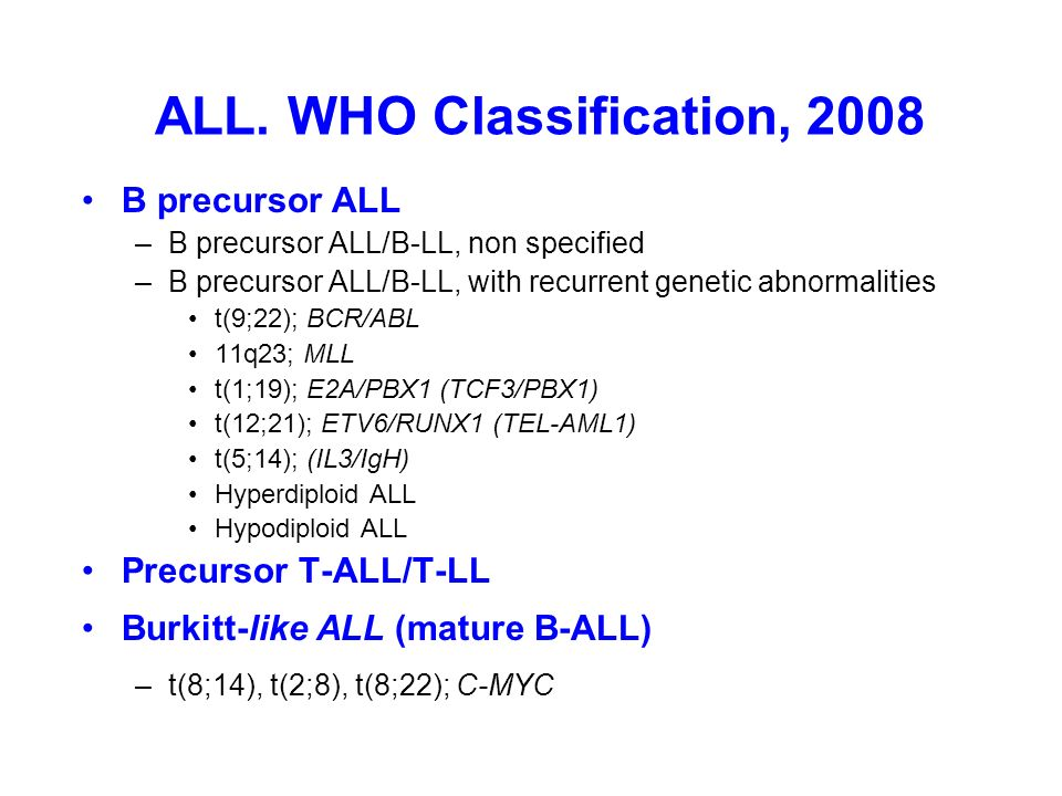 ALL. WHO Classification, 2008