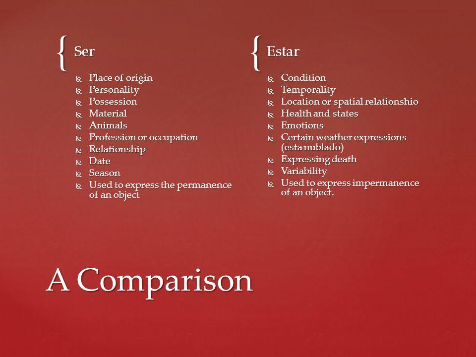 A Comparison Ser Estar Place of origin Personality Possession Material