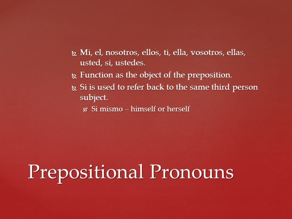 Prepositional Pronouns