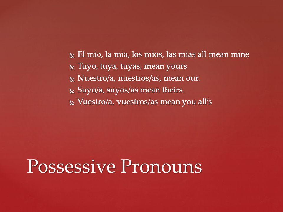 Possessive Pronouns El mio, la mia, los mios, las mias all mean mine