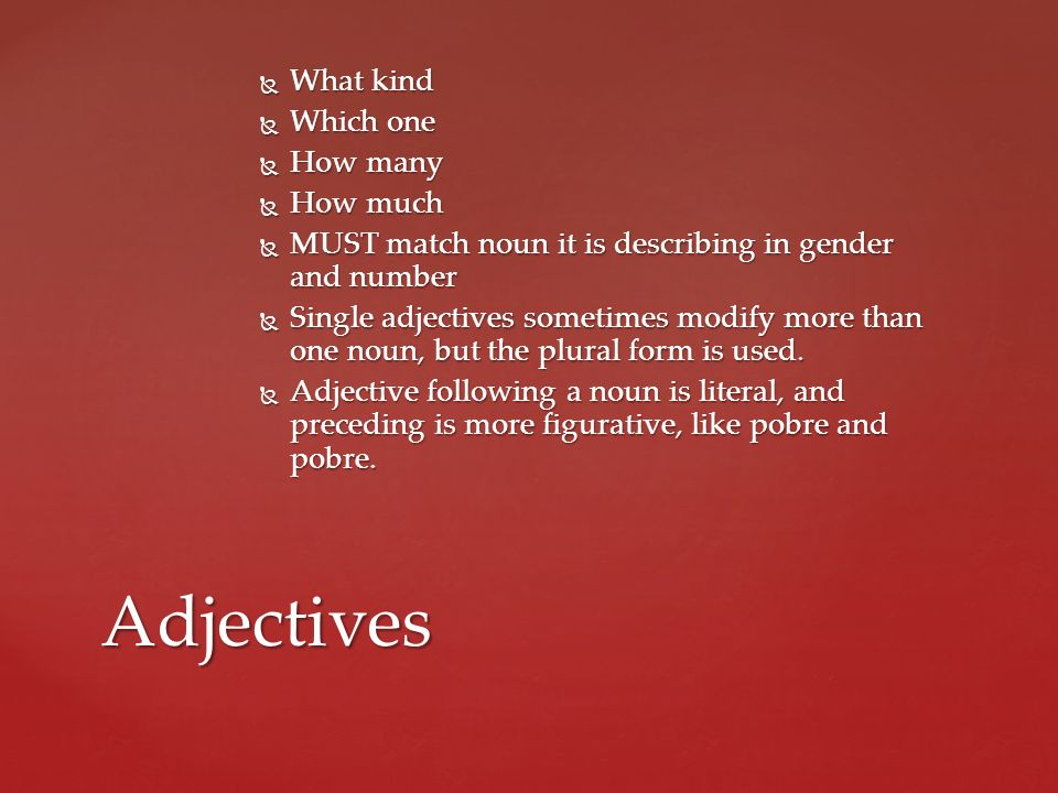 Adjectives What kind Which one How many How much