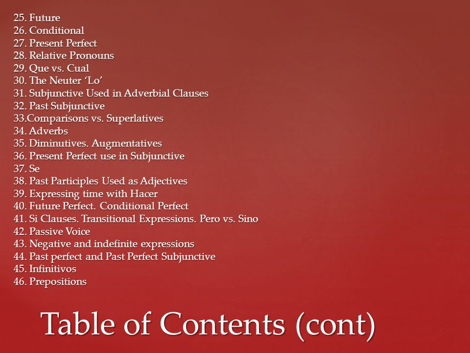 Table of Contents (cont)